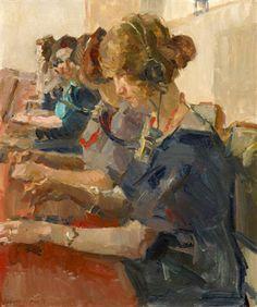 Isaac Israëls (1865-1934) was een van de voornaamste Nederlandse schilders uit de groep van Amsterdamse Impressionisten. Naast zijn schilderwerk was hij tekenaar en aquarellist en maakte hij pastels, etsen en litho's.-Telefooncentrale