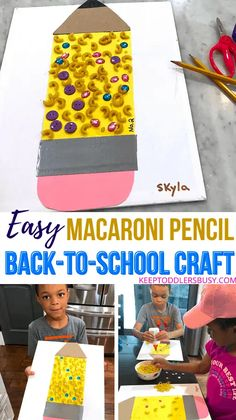 A Fun Back-To-School Craft Is A Great Way To Get The Kids Excited For School! This Simple Macaroni Pencil Activity Also Doubles As A Fine Motor Skills Builder.