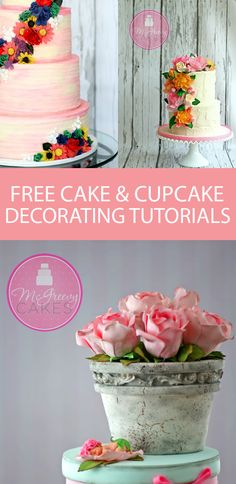 TONS of free cake & cupcake decorating tutorials on McGreevy Cakes! From…