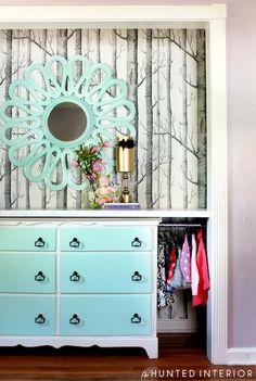 The Hunted Interior - bedrooms - woods wallpaper, Tiffany blue, flower mirror, blue flower mirror, vintage dresser, Tiffany blue dresser, wa...