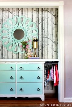 The Hunted Interior - bedrooms - woods wallpaper, Tiffany blue, flower mirror, blue flower mirror, vintage dresser, Tiffany blue dresser, wa...