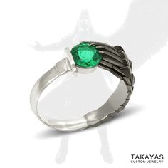 Custom Sephiroth inspired FFVII platinum and emerald engagement ring for Kristie and Andrew by Takayas Custom Jewelry