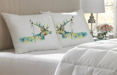 Set of Two 4K Unique Stag Art pillows cover 100% cotton / egyptian handmade silk pillow case pillowcase cushion cover Bedroom Present gift