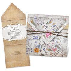 antique floral wedding invitation - gold | vintage wedding invites at Invitations By Dawn