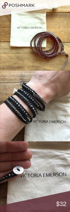 """Victoria Emerson hematite on black wrap bracelet Beautiful  Victoria Emerson 5-Wrap bracelet. Genuine Hematite on black leather.    has one clasp with closures at 34"""", 35"""" and 36"""". Comes with a Victoria Emerson Pouch & Engraved Victoria Emerson Nickel-Free Clasp. New!! victoria emerson Jewelry Bracelets"""