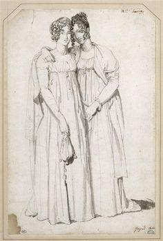 Portraits des deux soeurs Harvey, by Jean-Auguste-Dominique Ingres, ca 1804
