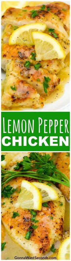 Easy Lemon Pepper Chicken Recipe – it's light and crispy, with a peppery, creamy lemon sauce that transforms your table into an elegant French dining room in less than 30 minutes. Made in One Skillet. Great served with pasta to soak up ALL the sauce! #LemonPepper #Chicken #Skillet #Lemon #Fried #ChickenBreast #Meal #Dinner #Drumsticks #Thighs #Pasta #AndRice #Baked #Tenders #StoveTops #Pan #WithAsparagus #Sauce #Seasoning #LemonJuice