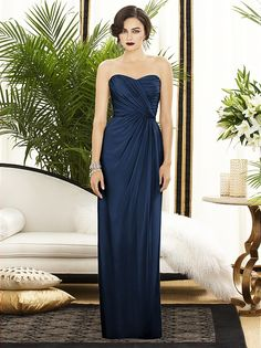 Full length strapless lux chiffon dress w/ sweetheart neckline and draped bodice and skirt. Natural waist.  Sizes available: 00-30W, and 00-30W extra length.   http://www.dessy.com/dresses/bridesmaid/2882/