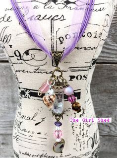 Ocean themed vial necklace Pink and Purple by TheGirlShed on Etsy