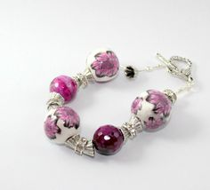 "Braccialetto ""Alma""  di Talè Gioielli su DaWanda.com #romantic #chic #bead #beads #polymer #clay #murrina #millefiori #fuchsia #bracelet #handmade #tuto #jewel #jewels #jewelry #fashion #unique #ooak #one #of #a #kind #artigianale #fimo"