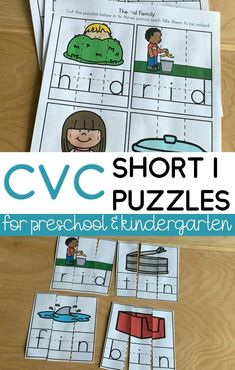 Fun and engaging CVC word family activities for kindergarten & preschool.  These short I CVC games are super fun to letter sounds as well as endcoding and decoding words as they slove the puzzles! Preschool Phonics, Phonics Rules, Phonics Lessons, Teaching Phonics, Primary Teaching, Teaching Resources, Word Family Activities, Cvc Word Families, Spelling Activities