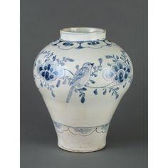 Jar Date: Joseon dynasty, approx. 1700-1800 Medium: Porcelain with a bird on branches design in underglaze cobalt