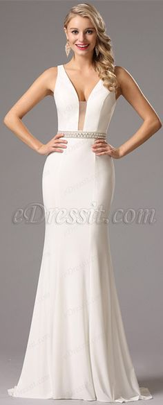 Sexy v cut neck white prom dress! price: $139.99 #edressit #formalgown #fashion