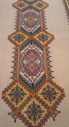 This Pin was discovered by Mar Folk Embroidery, Embroidery Patterns Free, Cross Stitch Embroidery, Cross Stitch Patterns, Cross Stitch Samplers, Cross Stitching, Bargello, Abstract Pattern, Needlepoint