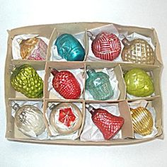 Box Germany, Japan Glass Feather Tree Christmas Ornaments