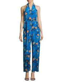 DIANE VON FURSTENBERG Floral-Print Silk Halter Jumpsuit. #dianevonfurstenberg #cloth #jumpsuit