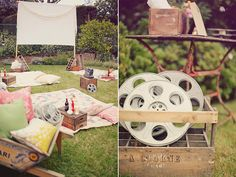 """backyard movie night - I *love* this idea! my favorite photo was of the sign that read, """"take a sheet & grab a seat"""". how fun would it be to have a monthly outdoor family movie night out here at the camp? Backyard Movie Party, Outdoor Movie Party, Backyard Movie Nights, Outdoor Movie Nights, Movie Night Party, Party Time, Backyard Parties, Outdoor Cinema, Outdoor Theater"""