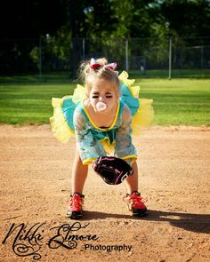 Kids softball dance photo idea little girl softball idea tutu poses photography