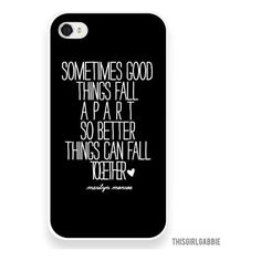 Plastic iPhone Case - Marilyn Monroe Quote - Better Things - Black -... ($28) ❤ liked on Polyvore