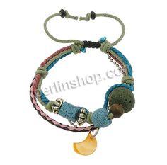 Lava Shamballa Armband, mit PU Schnur & Messingkette & Wachsschnur & Muschel & Holz & Verkupferter Kunststoff, plattiert, farbenfroh, 15mm, ...
