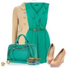 Daily Outfit Look, Beige windbreak, teal cocktail dress and nude wedges