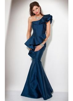 Bargain Mermaid Satin Sleeveless Floor-length One Shoulder Evening Dresses - Wedding Dresses