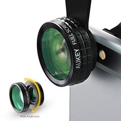 Aukey 3 in 1 Clip-on Cell Phone Camera Lens Kit, 180 Degree Fisheye Lens/ Wide Angle Lens/ 10 X Marco Lens for iPhone 6S, 6S Plus, Samsung Galaxy, Windows, and Android Smartphones