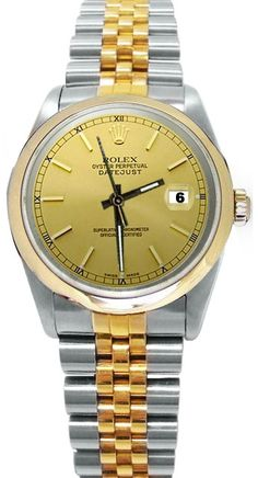 Brown Stick dial two tone Rolex datejust watch man lady