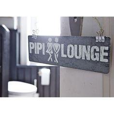 Schild, Pipi Lounge, 8x25 cm, mit Aufklebern auf der Rückseite, Holz Katalogbild