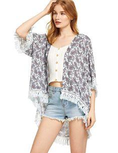 Women Off White Paisley Kimono Top Blouse Fringe Casual Shirt Sweater Cardigan