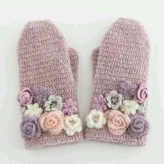 lovely crochet floral mittens