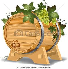 wine barrel clipart to buy | Wine barrel with grapes on the stand