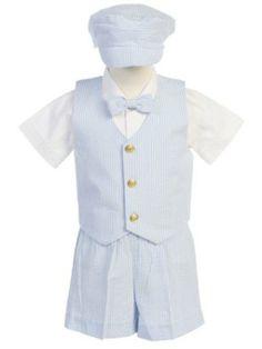 90254157065 Light Blue Striped Cotton Seersucker Vest   Shorts 5 Pc Outfit w Dress  Shirt