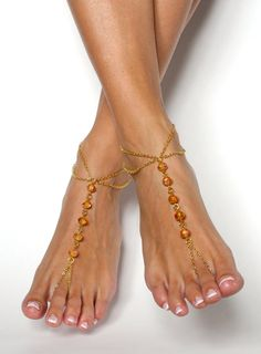 New to BareSandals on Etsy: Gold Barefoot Sandals Bohemian Foot Jewelry Anklet Foot Thong Beach Sandals (44.00 USD)