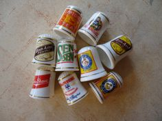 Early Advertising 9 Porcelain Thimbles With Display Box 1980. $18.00, via Etsy.