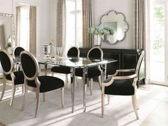 Shop this caracole classic black / taupe silver leaf dining arm chair (set of from our top selling Caracole dining room chairs. LuxeDecor is your premier online showroom for dining room furniture and high-end home decor. Dining Room Table Chairs, Drawing Room Furniture, Chair, Furniture, Dining Room Chairs, Dining Chairs, Black Dining Room Furniture, Dining Arm Chair, Dining