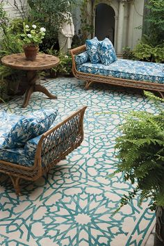 Outdoor Rugs for a cozy patio - Outdoor Rugs - Ideas of Outdoor Rugs - See how a rug can give so much style! Moroccan ambience to your patio. Mamounia sky for The Rug Company Outdoor Rooms, Outdoor Living, Outdoor Decor, Outdoor Tiles, Outdoor Carpet, Outdoor Furniture, Outdoor Seating, Furniture Ideas, Adirondack Furniture