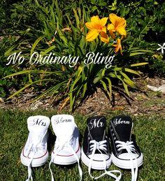 Set 2 Custom Wedding Converse Tongues, #Bride #Groom #Shoes by #NoOrdinaryBling