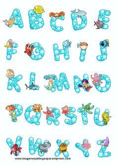 Abecedario con animales del mar , las letras del abecedario con forma de burbujas y en cada letra una naimalitos del mar, peces, cangrejos ...