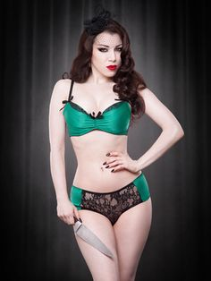 89dcb966be2 Kiss Me Deadly s fabulous ruched emerald green satin over a padded  underwire plunge bra in green satin with black lace overlay.
