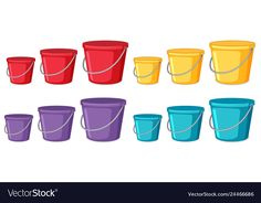 Set of different coloured buckets Royalty Free Vector Image Motor Skills Activities, Book Activities, Word Pictures, Everyday Objects, Adobe Illustrator, Vector Free, Bucket, Clip Art, Activities