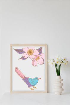 Nursery Wallpaper, Nursery Art, Nursery Decor, Kids Decor, Decor Ideas, Gift Ideas, Bird Prints, Wall Art Prints, Room Baby