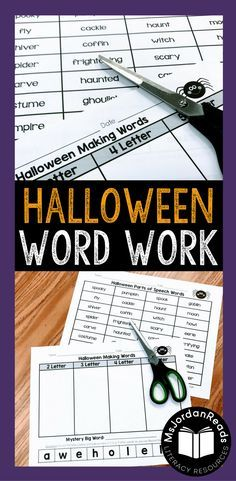 Halloween Word Work Resources | Reinforce phonics, decoding, fluency, and vocabulary with this fun, Halloween-themed collection of literacy activities. | Includes word sorts, sentence building, word puzzles, making words, and roll & read tasks.
