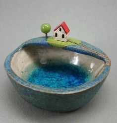 Private Lake Keepsake Bowl in Stoneware: This would make a cute clay version. Stoneware Clay, Ceramic Clay, Ceramic Plates, Ceramic Pottery, Pottery Art, Pottery Houses, Ceramic Houses, Clay Houses, Ceramics Projects