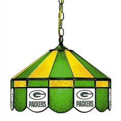 [[start tab]] Description The Green Bay Packers NFL 16 Inch Glass Lamp is custom manufactured in the USA. The finest materials are used in the manufacturing of this stained glass lamp. Each piece of g Man Cave Lighting, Pool Table Lighting, Small Pool Table, 60 Watt Light Bulb, Green Bay Packers Fans, Billiard Lights, Nfl Packers, Greenbay Packers, Packers Gear
