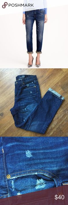 """J.Crew broken in boyfriend Jean in traction wash Sits lower on hips. Relaxed through hip and thigh, with an easy, straight leg. 29"""" inseam, but we like it rolled to 26"""". 13 3/4"""" leg opening. Slight rips for style (by design). Worn once. No flaws. J. Crew Jeans Boyfriend"""
