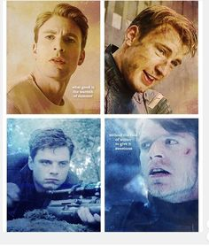 """Captain America (MCU) - Steve Rogers x Bucky Barnes - Stucky fanart """"What good is the warmth of summer without the cold of winter to give it sweetness? Marvel Jokes, Marvel Funny, Marvel Heroes, Marvel Characters, Marvel Avengers, Marvel Comics, Captain America Winter, Captain America And Bucky, Bucky Barnes"""