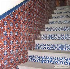 MexicanTiles.com - Stairway with Navajo Mexican Talavera Tile