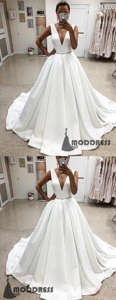 V-neck Satin Wedding Dresses Crystal Beaded Ball Gowns Sleeveless Long Prom Dresses,HS657 #flowergirldress#wedding#pageantdress#birthdaypartydress#ballgowns