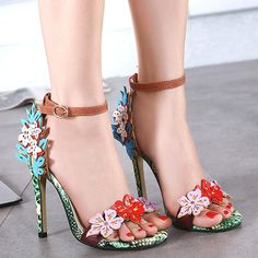 JUANITA JEWEL (SHOES-SPECIALTY ITEMS) Colorful Flower Ankle Strap HIgh Heels